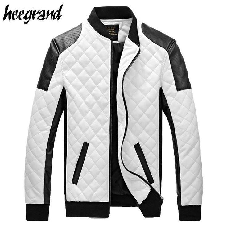 PU Leather Black and White Slim Plaid Jacket