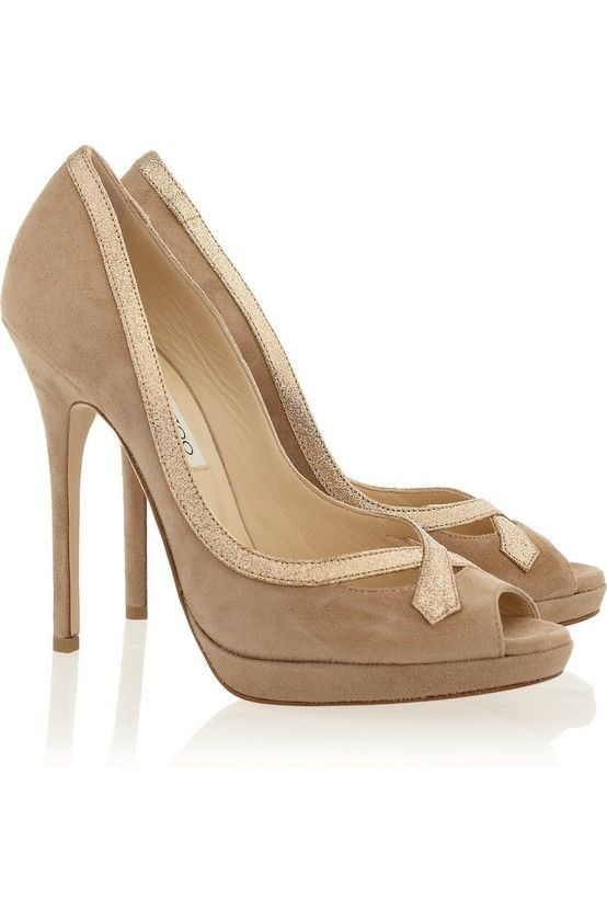 Glitter Trimmed Suede Pumps by Jimmy Choo...Need a pair!  Love these!