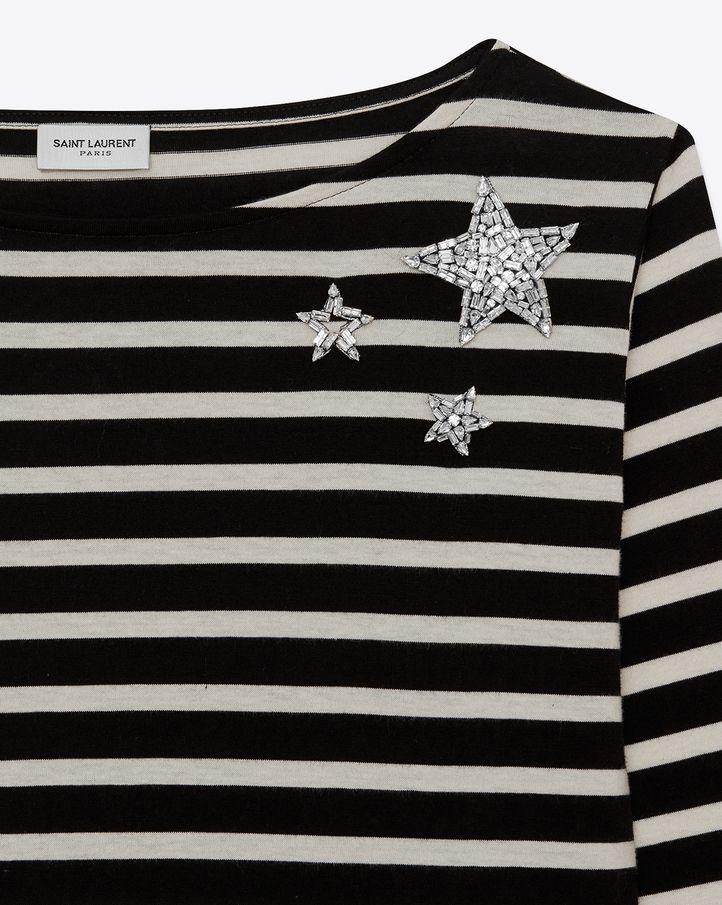Tシャツ SAINT LAURENT サンローラン 2017 春夏 SS 新作 collection printed tops T shirts logo プリント T ボーダー striped star 星 スター ビジュー