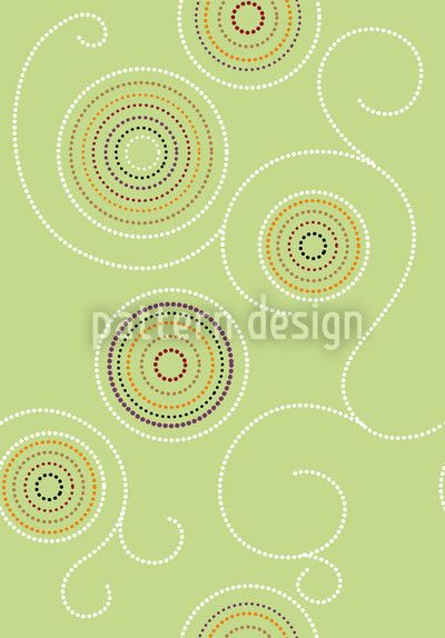 Aboriginal Twirls Green by Martina Stadler available as a vector file on patterndesigns.com