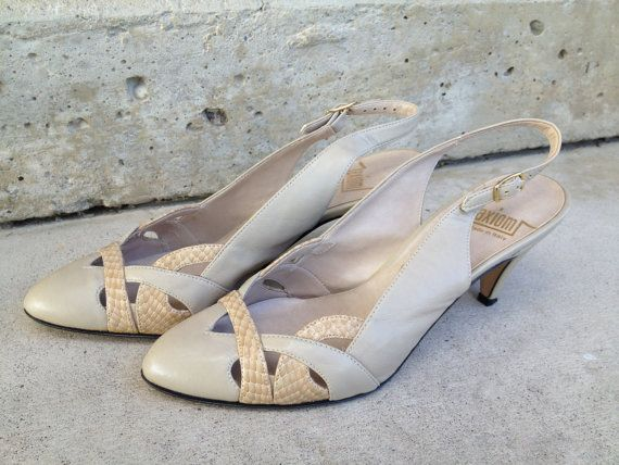 Vintage 80s shoes Tan slingbacks with snakeskin