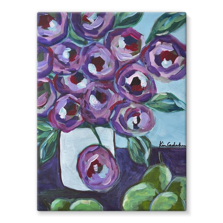 """""""Purple and Pears"""" Stretched Canvas"""