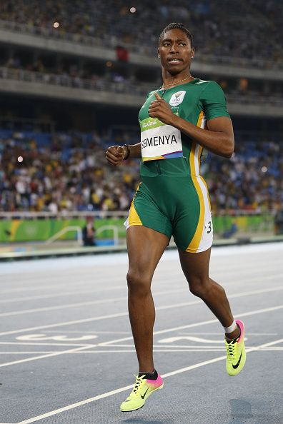 South Africa's Caster Semenya celebrates winning the Women's 800m Final during…