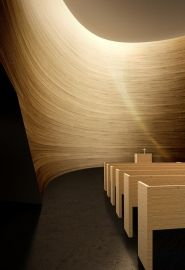 Interior of Helsinki's Chapel of Silence. Architects: K2S. True to modern Finnish architecture, its natural materials and simplicity belie its complexity.
