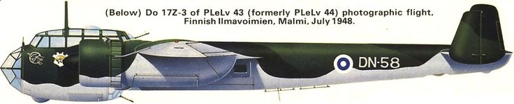 Do.17Z-3 / Unit: photographic flight of PLeLv43 (formerly PLeLv44) // In November of 1941 Hermann Goering donated 15 Do 17Z-2 bombers to the Finnish air force, the aircraft arrived in January of 1942, DN-58 Survives the war and ends its days in mapping missions in the 1950s.