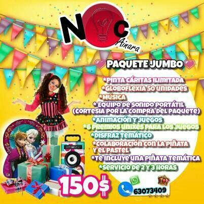 ♡ *PAQUETE* *JUMBO* ♡  *Pinta Cáritas ilimitada  *Globoflexia 50 unidades  *Música  * Equipo de sonido portátil  (cortesia por la compra del paquete) *Animación y juegos  *6 premios unixes para los juegos  *Disfraz temático *Colaboración con la piñata y el pastel *Te incluye una piñata temática  *Servicio de 2 y 3 horas Precio del paquete: 150.00B/ #ncainara #animacion #piñata #regalos #juegos #paquete