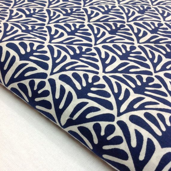 Block Print Fabric Indian Organic Cotton Indigo by DesiFabrics