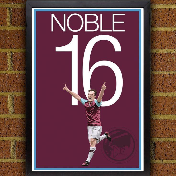 Mark Noble 16 Poster - West Ham United Soccer Poster - poster, art, wall decor, home decor, Hammer print, Noble poster, West Ham Art print #soccer #wallart #decor #canvas #art #poster #graphicdesign #soccerart #football #futbol #etsy #g17 #graphics17 #etsy