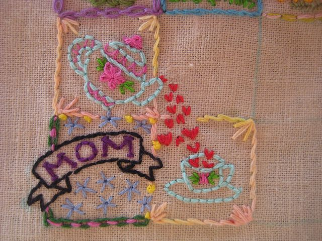 2 squares interacting ...different colors and stitches for borders