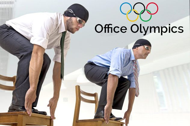 Love this: Office Olympics games #WorkplaceWellness #Olympics #TheOffice