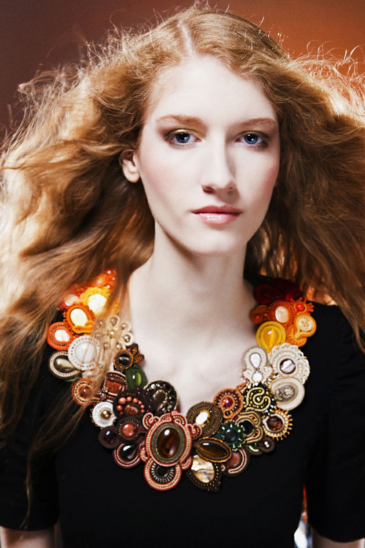 Great soutache necklace - Autumn - from charity auction.