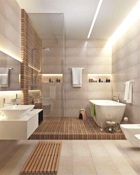 Salle de bain moderne – bois et blanche, éclairage Led ...