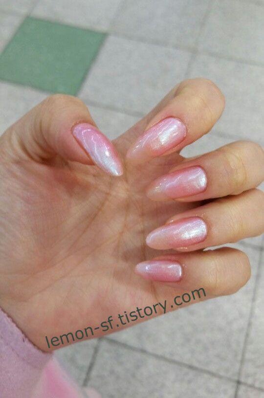 핑크 폴리쉬 롱네일