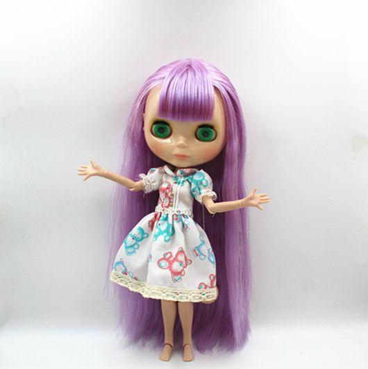 Blygirl Блит куклы фиолетовый Bangs прямые волосы Nude куклы 30 CM совместных Body 19 совместных DIY кукла подходит для Changing макияжкупить в магазине Blygirl StoreнаAliExpress
