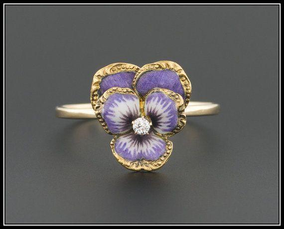 Enamel & Diamond Pansy Flower Ring 14k Gold by TrademarkAntiques