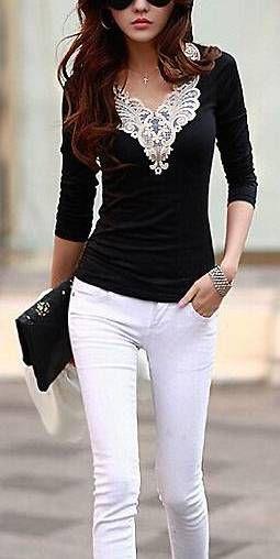 Lacework Splicing Fashionable V-Neck Long Sleeve T-Shirt