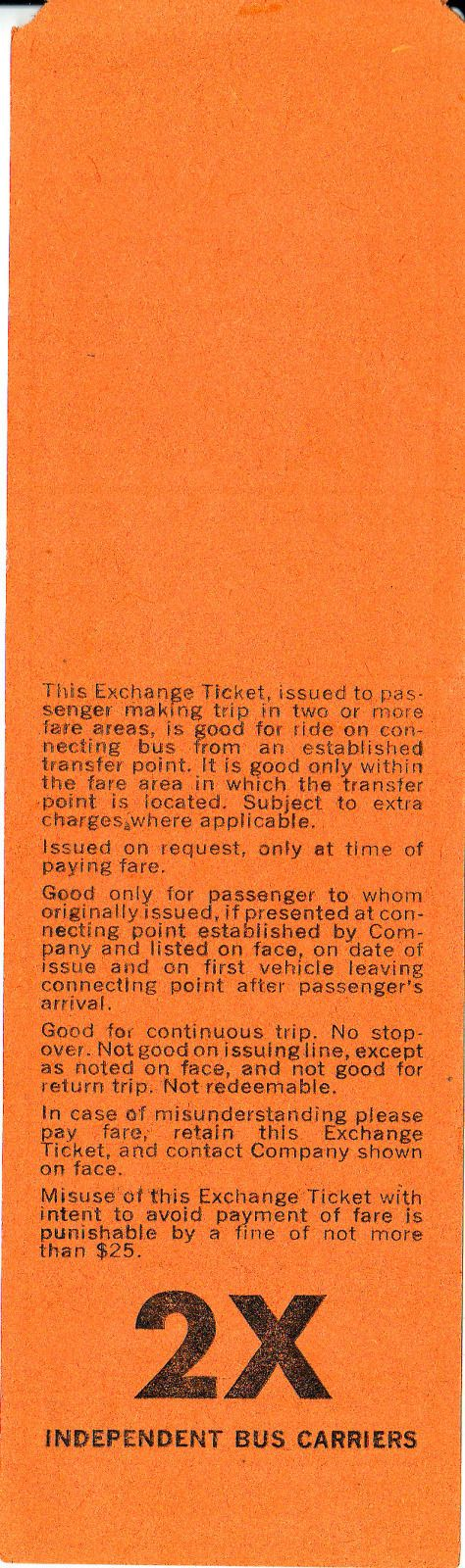 Back of bus transfer of William Seidler, one of the independent carriers exchanging transfers with Public Service Coordinated Transport of New Jersey (1960s)