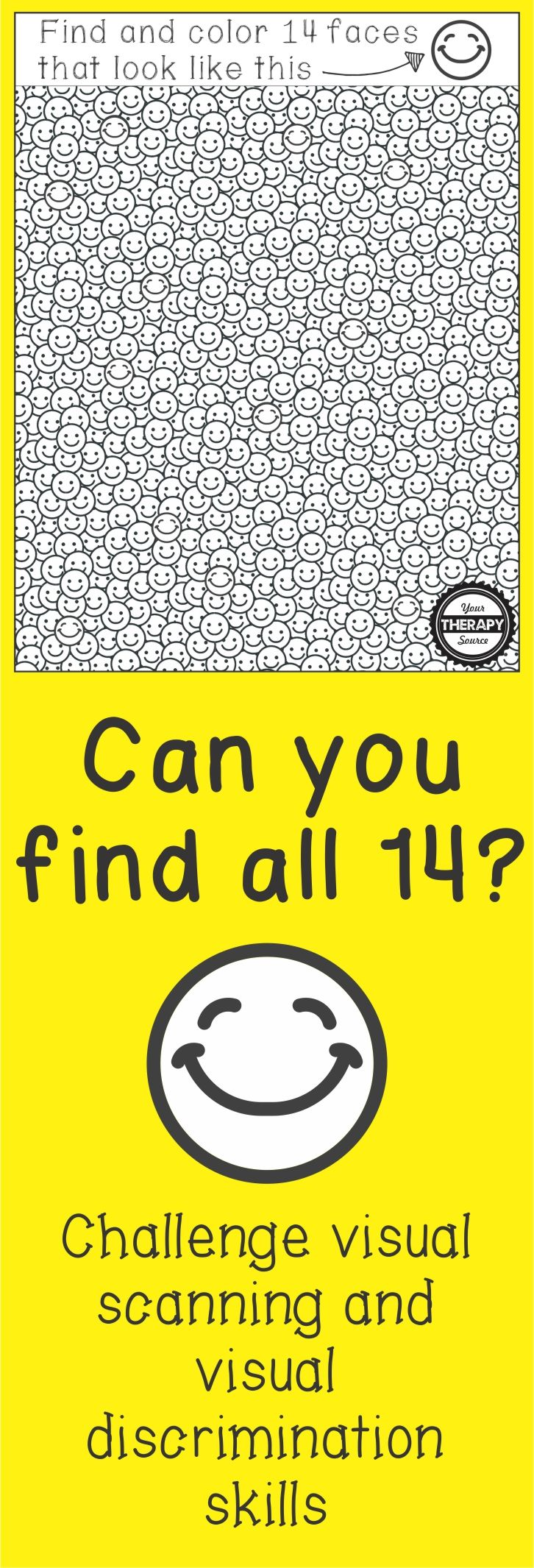 Smile Find - Visual Scanning, Discrimination, Figure Ground