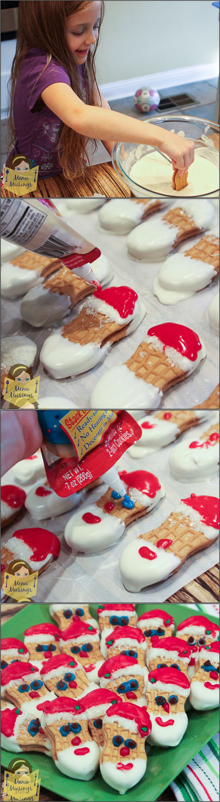Nutter Butter Santa Cookies - a step-by-step photo tutorial to making these adorable, no-bake Santa Cookies with your kids. <3