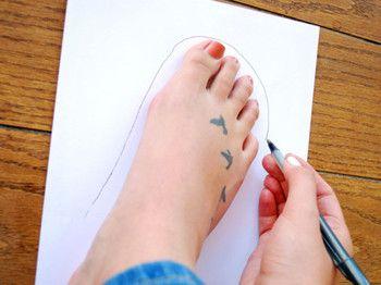 自分の足のサイズに合わせて、型紙を作りましょう。型紙といっても難しく考えないで大丈夫!ルームソックスなので、ざっくりとしたラインでOKです。
