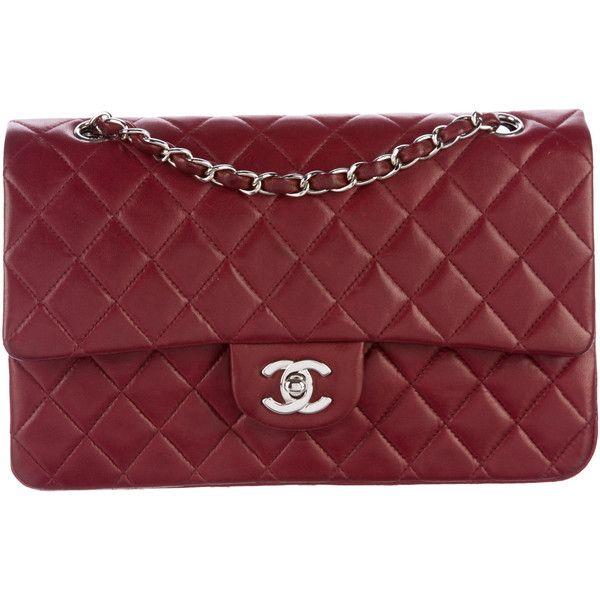 Pre-owned Chanel Medium Classic Double Flap Bag (20.475 HRK) ❤ liked on Polyvore featuring bags, handbags, burgundy, zip purse, handbag purse, chanel handbags, red handbags and pre owned handbags