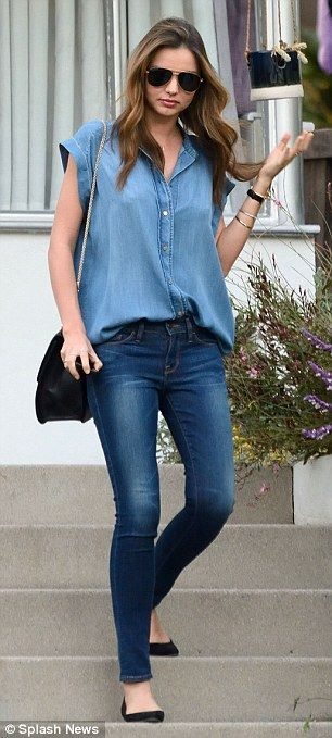 Casual and always chic: Miranda opts for double denim as she leaves a fashion photo shoot in Los Angeles