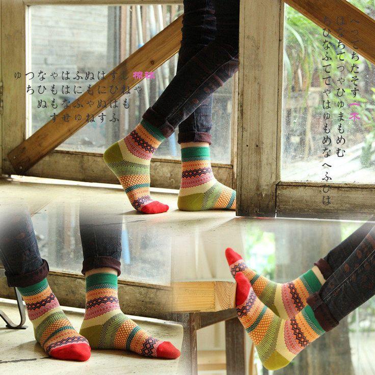 Unisex Women Men Harajuku Style Stripe Cotton Socks Design Multi-Color Mid Calf Hosiery at Banggood  #women #fashion #accessories