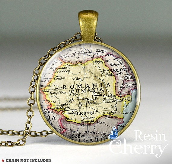 Romania map pendant