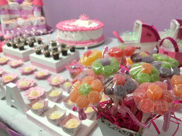 Vaso de flores de bala de goma, mesa decorada para meninas