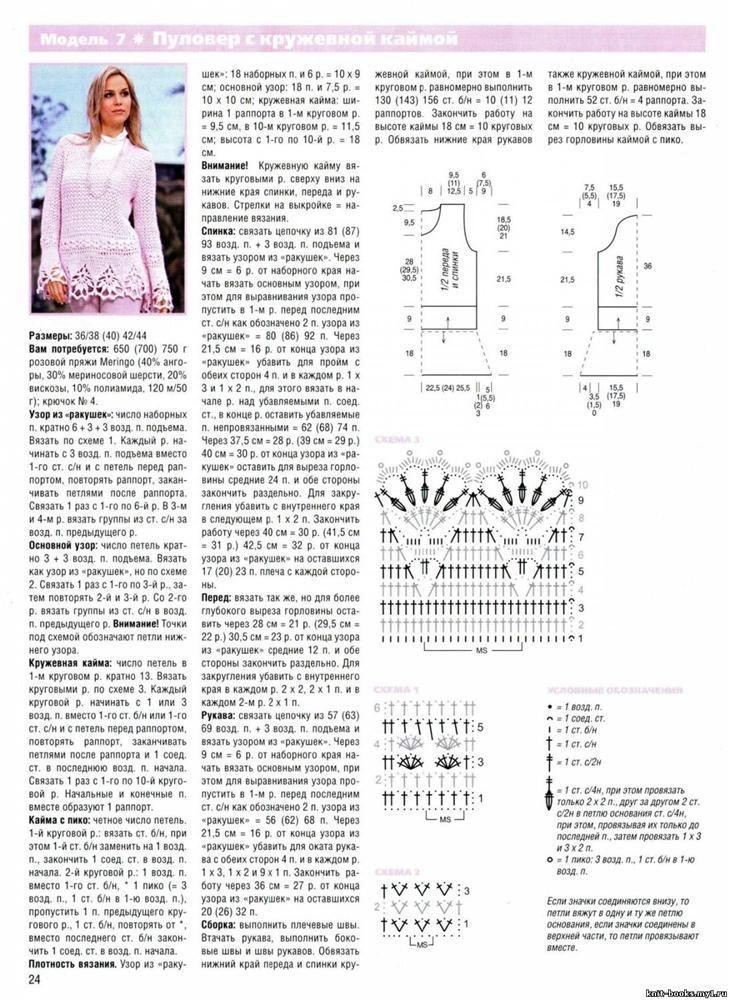Un model de succes: pulover cu dantela croșetat margine. Comentarii: LiveInternet - Serviciul Diaries ruse Online