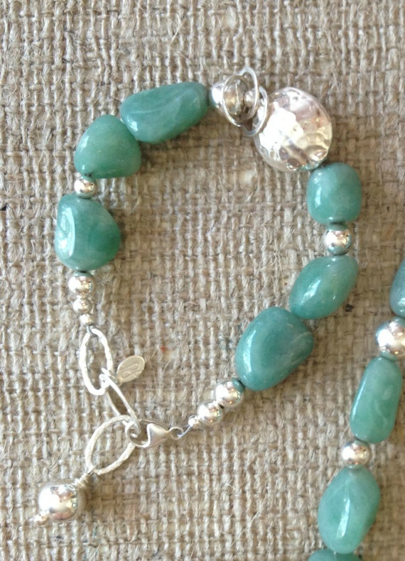 Green Chalcedony Nugget and Sterling Silver by PoshDesignsJewelry, $149.00