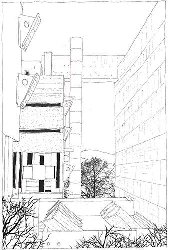 Le Corbusier, Couvent Sainte-Marie de La Tourette,  Éveux, France, 1959   drawn by Riccardo Salvi