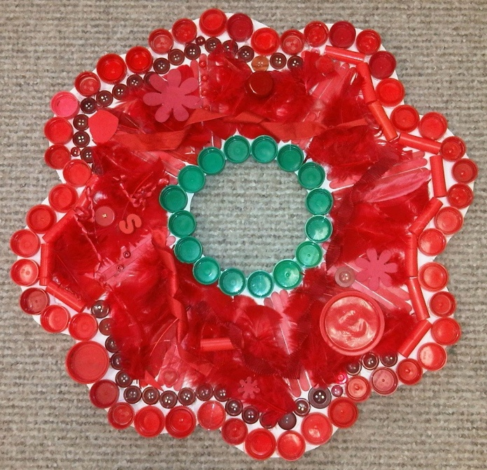 """Collage poppy, including bottle tops, buttons & feathers ("""",)"""