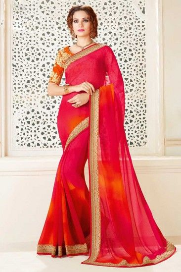 Pink And Red Chiffon Saree With Blouse - DMV11769