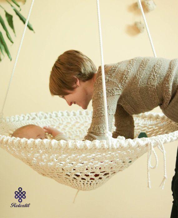 Mandala Crochet Swing - Handmade Recycled White Crochet Chair, Shabby Chic Home Decor, Kids Room Furniture (No. 16.)