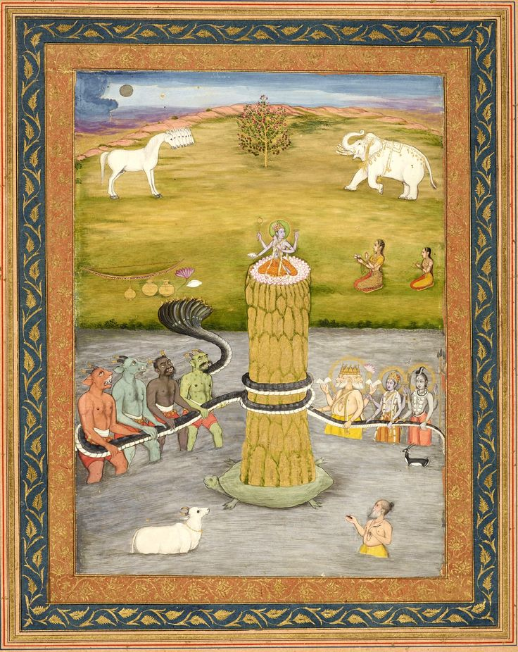 Samudra Manthan or 'Churning of the Ocean of Milk'. Indra, the king of the gods came across the Sage Durvasa who offered him a special garland given to him by Shiva. Indra accepted the garland & placed it on the trunk of his elephant, but the elephant trampled it on the ground. This enraged the sage who cursed Indra & all the gods so that their strength, energy, & fortune were taken from them. They appealed to Vishnu for guidance who advised that they  drink the nectar of immortality…