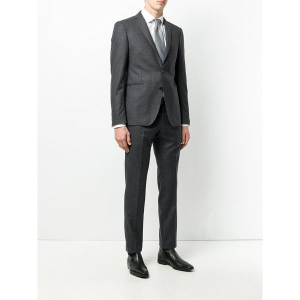 Tagliatore two piece suit (€615) ❤ liked on Polyvore featuring men's fashion, men's clothing, men's suits, mens charcoal grey suit, mens charcoal suit, mens two piece suits and men's 2 piece suits