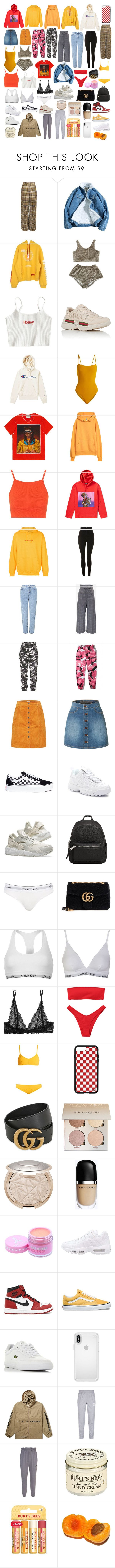 """""""things i want :):"""" by bellagemmellx ❤ liked on Polyvore featuring Heron Preston, Gucci, Champion, Eres, Topshop, Raf Simons, F.A.M.T., Miss Selfridge, WithChic and NOLA"""