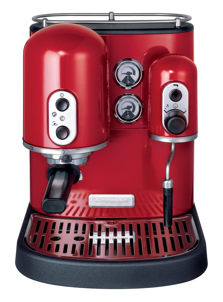 Empire Red - Artisan Espresso Machine    1300W die-cast construction features independent espresso and steam boiler, rotating frothing arm, 2 filter baskets, tamper, nozzle, brush, scoop and stainless steel frothing jug