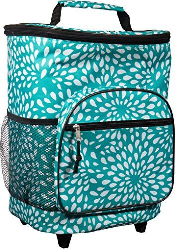 Attractive Insulated Rolling Cooler Bag with Telescoping Handle 16-inch 21-quart Wheeled Cooler (Turquiose and White Petals)