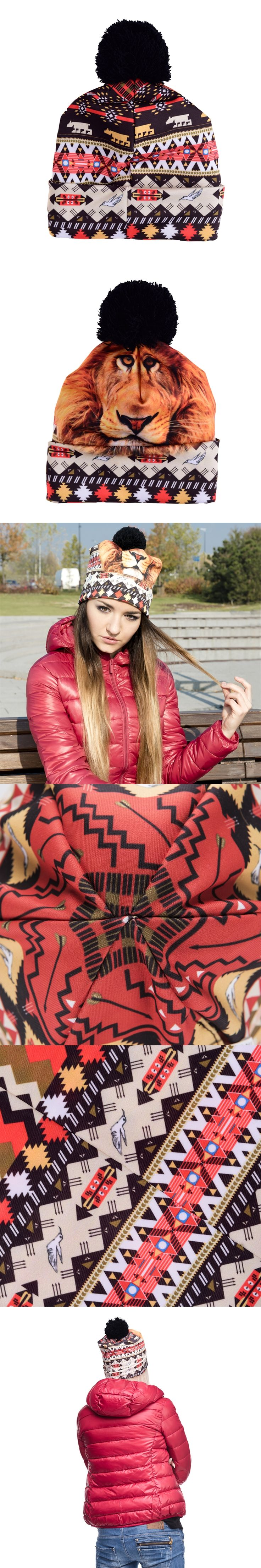 Hot Sale 3D Full Print Beanie Hat Women Man Aztec Peru Lion Autumn Winter Cap Bobble Pompon Knitted Christmas Hats Gift