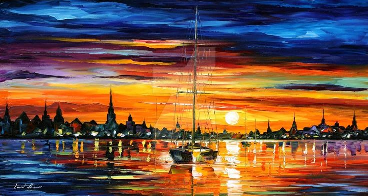 Calm sunset by Leonid Afremov by Leonidafremov on DeviantArt