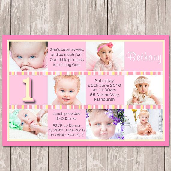 1st First Birthday Photo Collage Personalised Invitations - YOU PRINT #1stbirthday #girl #invitation #catchmyparty