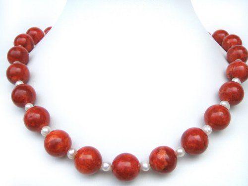 Halskette aus roter Schaumkoralle mit Süßwasserperlen L-49 cm