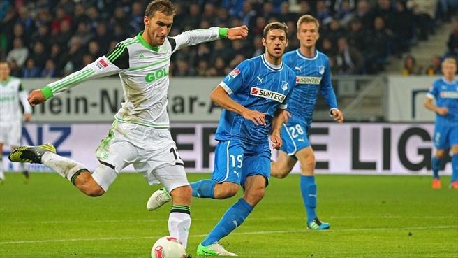Bas #Dost (VfL #Wolfsburg)  Bas Dost of VfL Wolfsburg scores their second goal during the German Bundesliga match against TSG 1899 Hoffenheim
