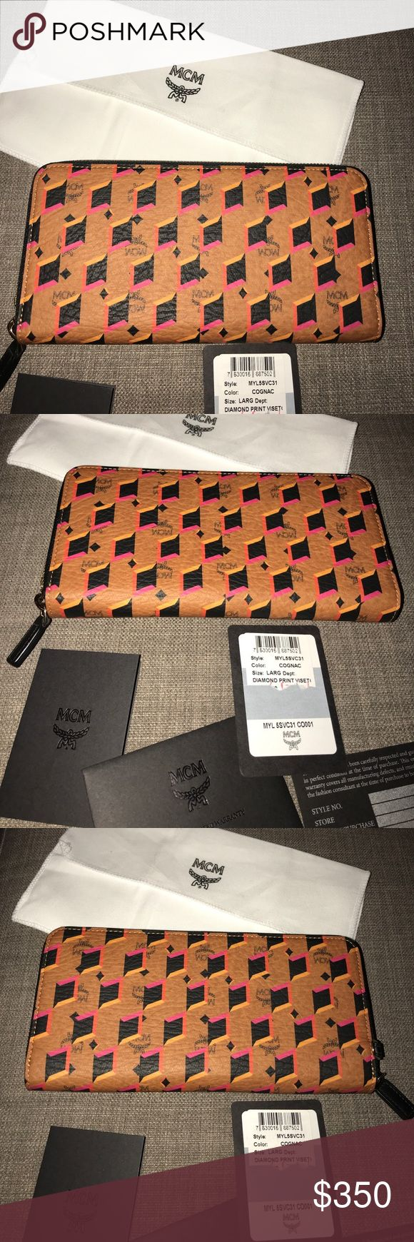 MCM Dimond Zipper Wallet AUTHENTIC New AUTHENTIC MCM zipper wallet bought here on PoshMark ended up not using it so selling it comes with tags and MCM dust bag perfect for MCM tote bag colors are fabulous.  ALL SALES ARE FINAL NO RETURNS MY items come from a smoke and pet free home. MCM Bags Wallets
