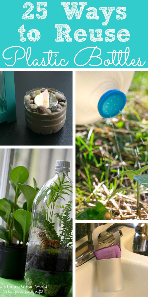 From water bottles to 2-liters to detergent jugs, there are so many cool ways to reuse plastic bottles! Here are 25 awesome ideas.