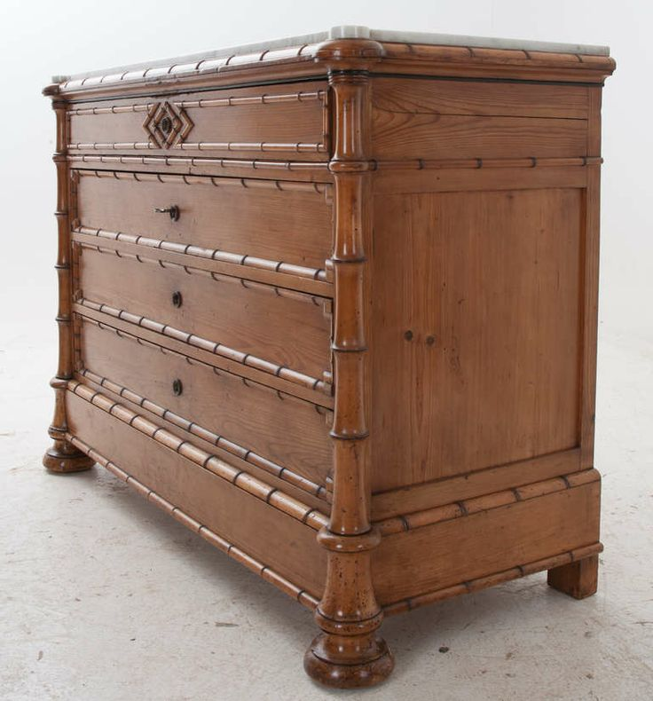 Le Grand 6 Drawer Dresser In Antique White: English 19th Century Faux Bamboo & Marble Chest