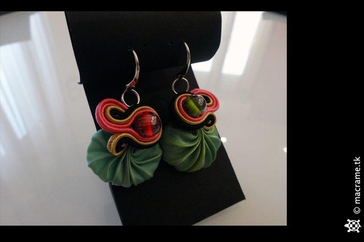 Shibori silk soutache earrings with Murano beads  Orecchini in soutache con seta Shibori e perle di Murano