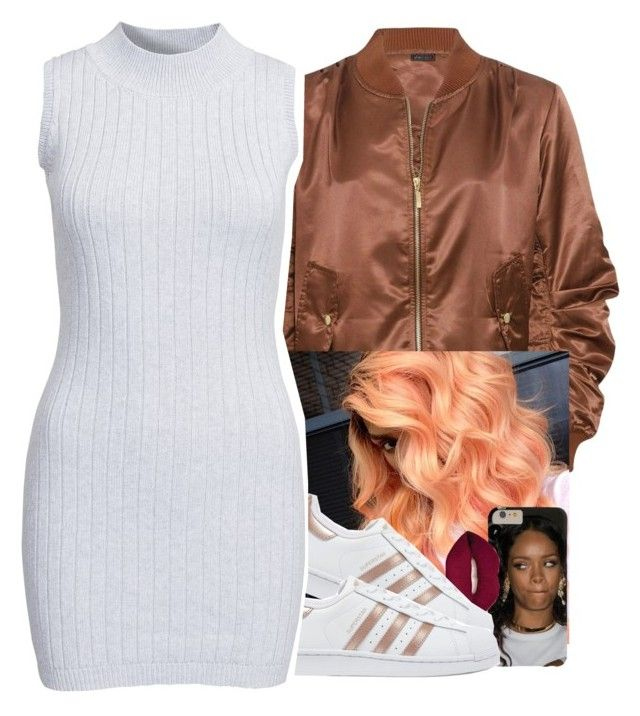 """""""brown bomber jacket 🔥"""" by jchristina ❤ liked on Polyvore featuring Smashbox, adidas Originals and Glamorous"""